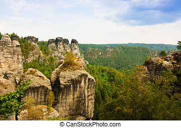 Rock formations of the Elbe sandstone mountains around the Bastei bridge in Saxony, Germany