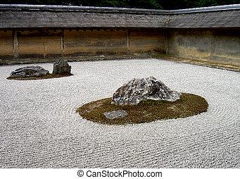 Rock garden - A zen rock garden in Ryoanji temple Kyoto, ...