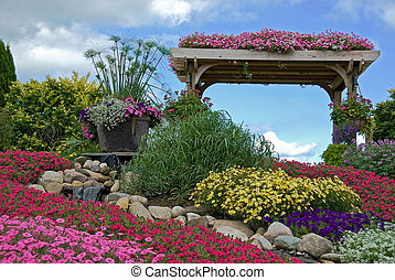 rock garden with trellis - Rock garden with waterfall and...