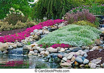 rock garden with waterfalls - Waterfalls in summer rock...