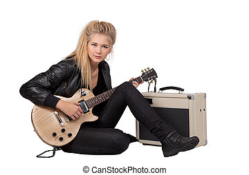 Rock Girl Playing An Electric Guitar