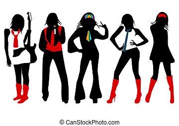 Rock girls  - Silhouettes of rock girls