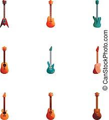 Rock guitar icon set, cartoon style