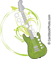 Rock guitar isolated on the white