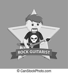 Rock guitarist in emblem