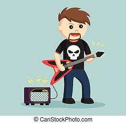rock guitarist with amplifier