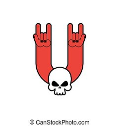 Rock hand and skull symbol of music. Rock and roll emblem isolated