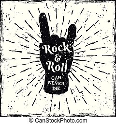 Rock hand gesture of horns music print or label