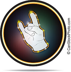 Rock hand sign. Vector icon. - Rock hand sign in circle...