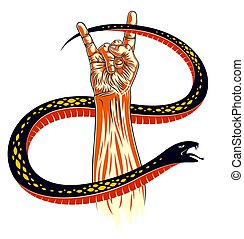 Rock hand sign with aggressive snake, hot music Rock and...