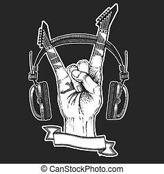 Rock heavy metal, hard rock music hand symbol. Vector icon.