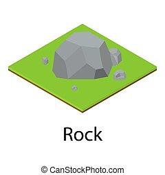 Rock icon, isometric style