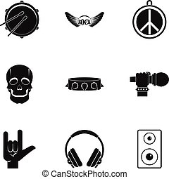 Rock icon set, simple style