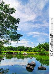 Rock in garden pond