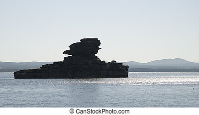 rock in the lake