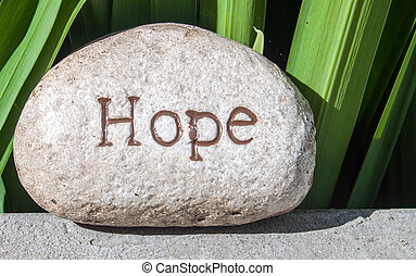 rock inscribed with word hope.