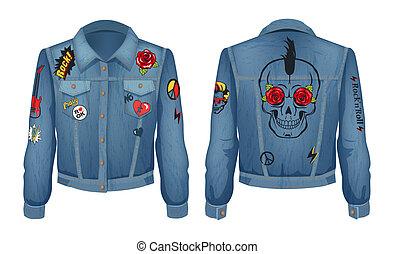 Rock Jacket of Denim Cloth Vector Illustration