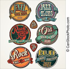 Rock, jazz and blues retro vintage badges and labels collection.eps