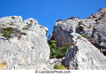 Rock landscape - Rock and mountain landscape, Foros, Crimea,...