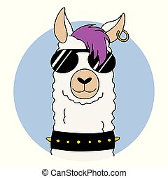 Rock llama with sunglasses and earring