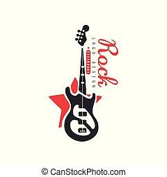 Rock logo design, emblem for Rock band or festival with electric guitar vector Illustration on a white background