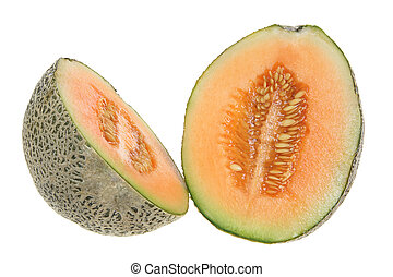 Rock Melon in Halves on White Background