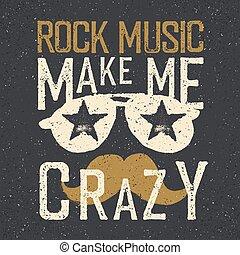 """""""rock, mnie, sunglasses, gwiazdy, ustalać, crazy""""., trójnik, muzyka, szablon, druk, projektować, moustache."""