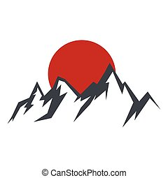 Rock mountain silhouette vector illustration with sun ...