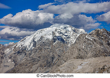 Rock mountains with snow