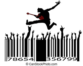 rock music bar code on white background