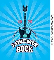 Rock music club, shop, sound record studio vector logo, badge