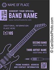 rock music concert electro guitar vertical music flyer...