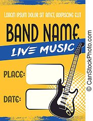 Rock music concert poster with electric guitar