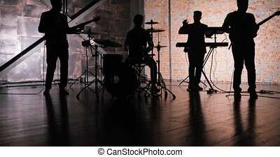 Rock music concert stage. Musical rock show. Rock music band...