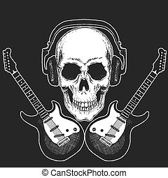 Rock music festival. Cool print with skull and headphones for poster, banner, t-shirt. Guitars