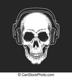 Rock music festival. Cool print with skull and headphones for poster, banner, t-shirt.