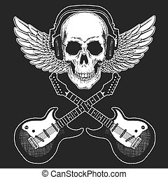Rock music festival. Cool print with skull, guitars, wings, headphones for poster, banner, t-shirt.