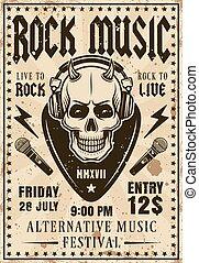 Rock music festival invitation vintage poster