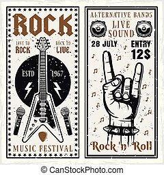 Rock music festival two vertical banners or invitation flyers vector templates with guitar and horns hand gesture. Layered, separate grunge texture and text