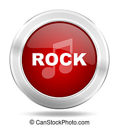rock music icon, red round glossy metallic button, web and mobile app design illustration