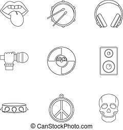 Rock music icon set, outline style