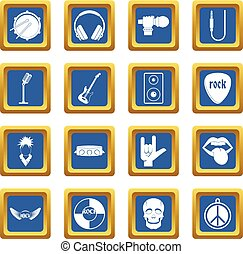 Rock music icons set blue