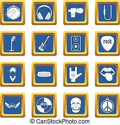 Rock music icons set blue