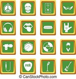 Rock music icons set green