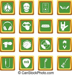 Rock music icons set green