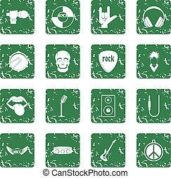 Rock music icons set grunge
