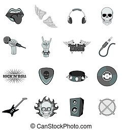 Rock music icons set monochrome