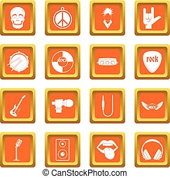 Rock music icons set orange