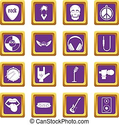 Rock music icons set purple