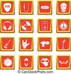 Rock music icons set red
